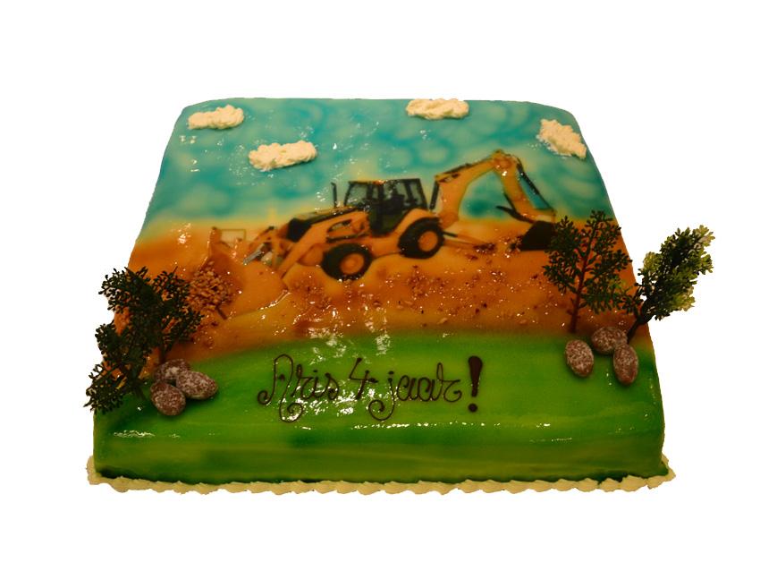 taart met graafmachine