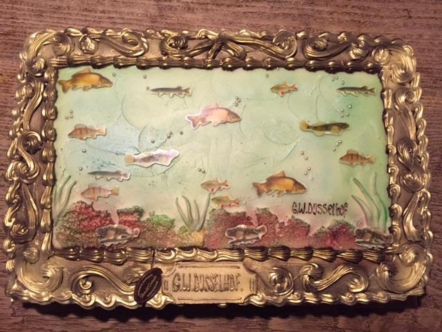 schilderij met vissen taart