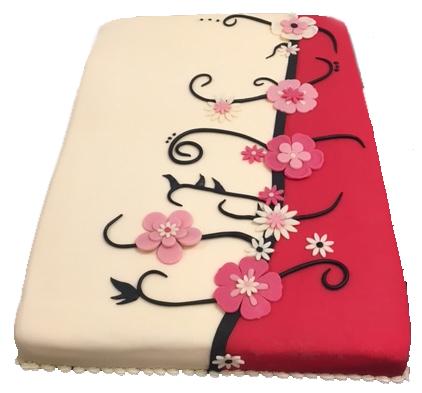 taart met bloemen strak